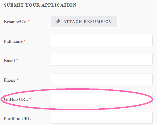 Submit Application Form With A Github Link
